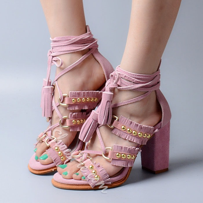 Shoespie Ankle Lace Up Chunky Heel Sandals