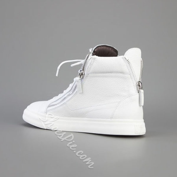 Shoespie White Zipper Decorated Men's Sneakers