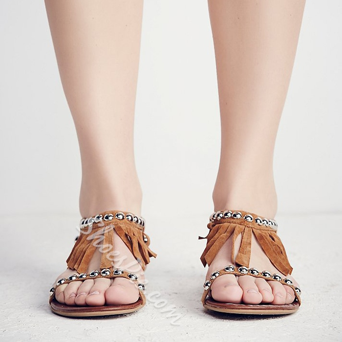 Shoespie Beads and Fringes Thong Flat Sandals