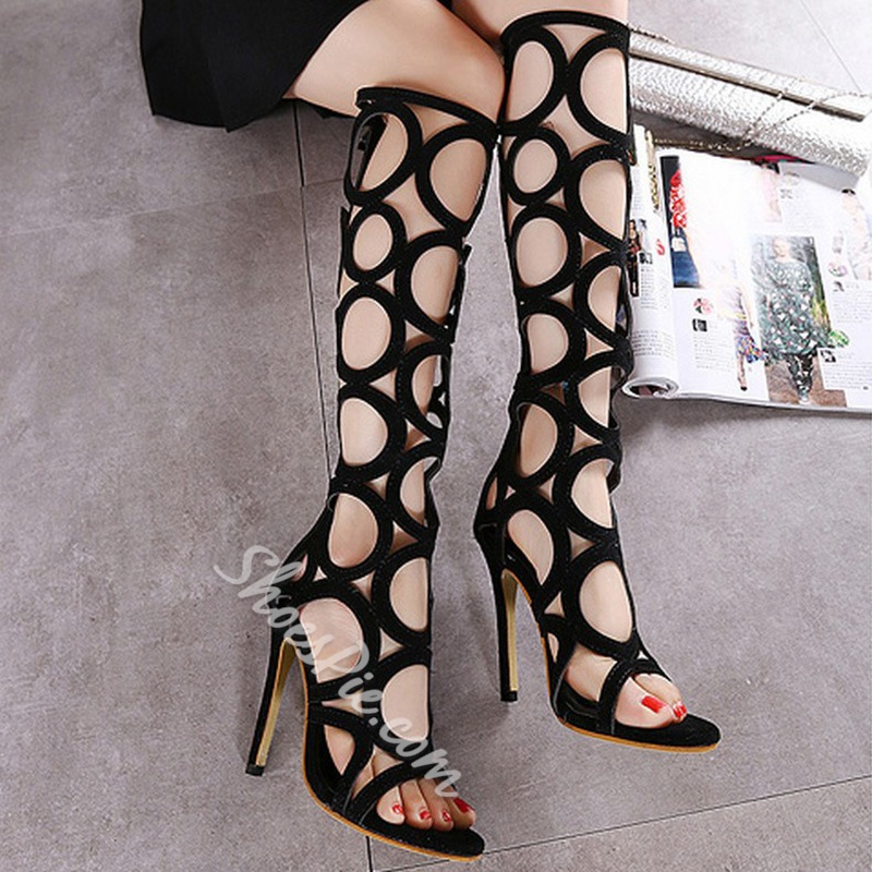Shoespie Circle Cutout Gladiator Sandal Boots