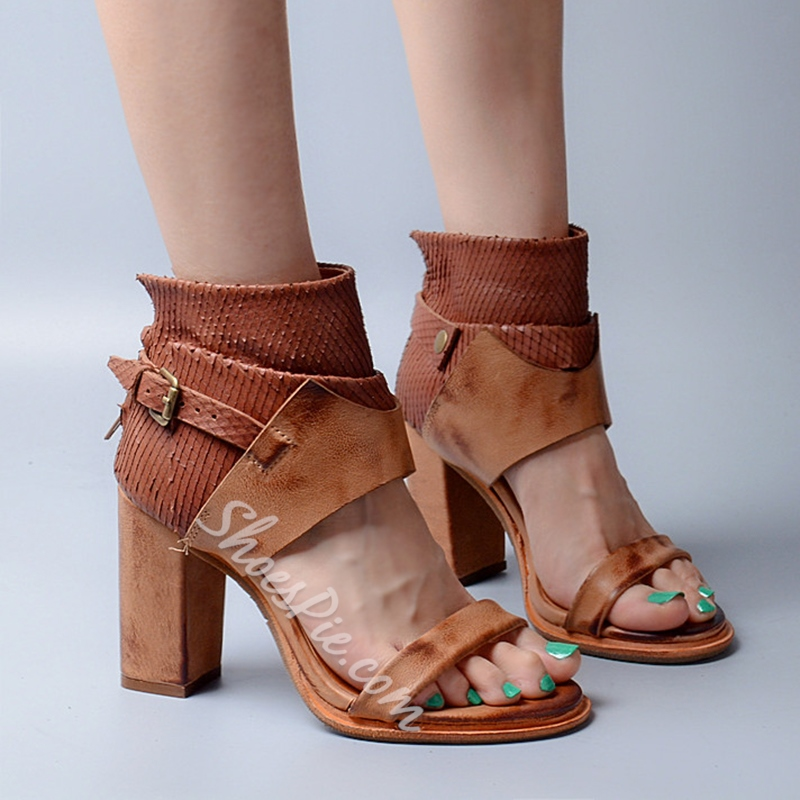 Shoespie Chunky Heel Ankle Wrap Sandals