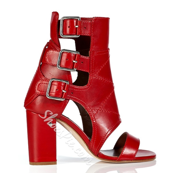 Shoespie Red Genuine Leather Ankle Sandal Boots