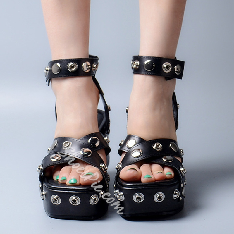 Shoespie New Arrival Rivets Wedge Sandals