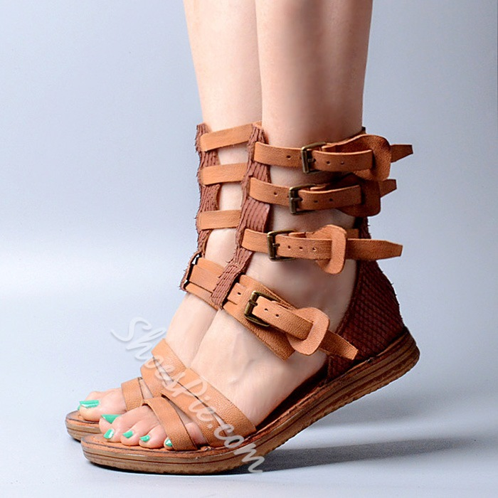 Shoespie Buckles and Straps Flat Sandals