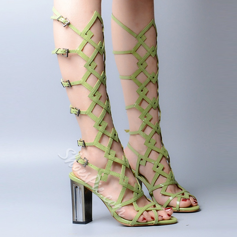 Shoespie Chic Chunky Heel Gladiator Sandals