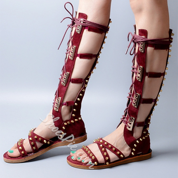 Shoespie Cone Rivets Gladiator Sandals