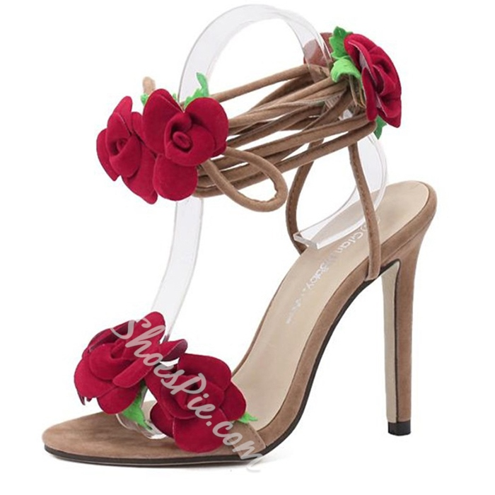 Shoespie Flower Appliques Lace Up Dress Sandals