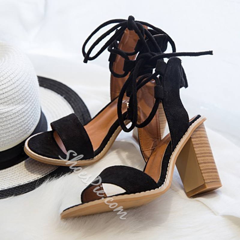 Shoespie Chunky Wood Heel Lace Up Sandals