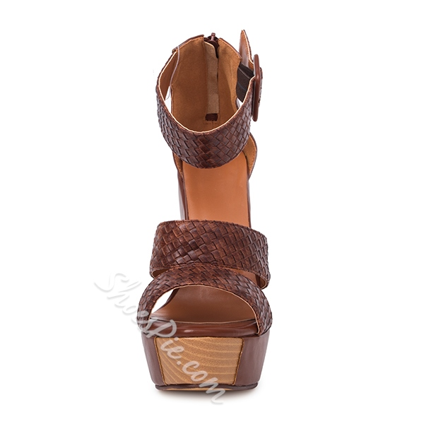 Comfortable l Ankle Strap Buckle Wedge Sandals