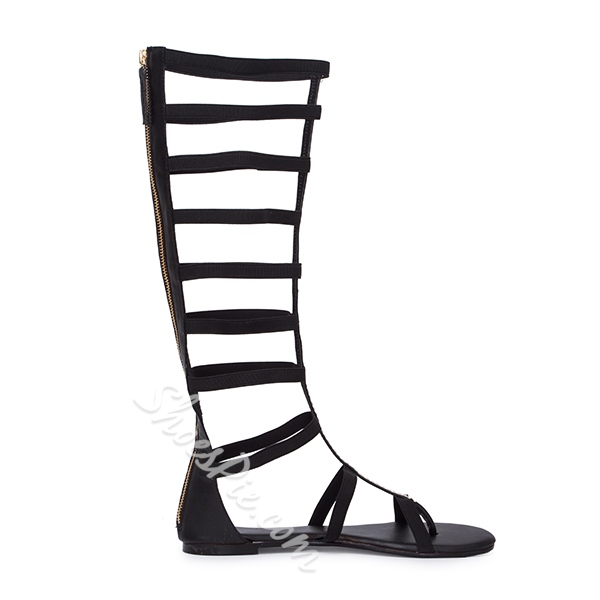 Shoespie Cut-out Zipper Knee High Flat Gladiator Sandals