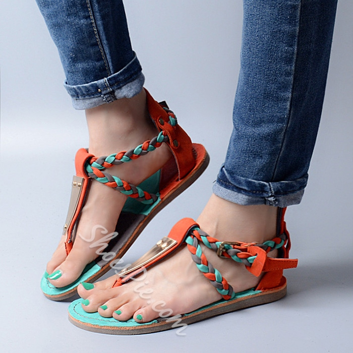 Shoespie Colorful Folk Woven Strappy Thong Flat Sandals