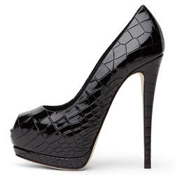 Shoespie OL Style Smart Black Peep Toe Sky High Platform Heels