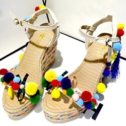 Shoespie Colorful Fur Balls Wedge Sandals