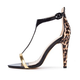 Shoespie Sexy Contrast Color Leopard Print Dress Sandals