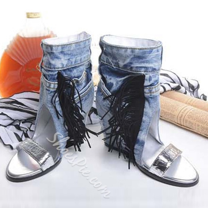Shoespie Denim Wedge Sandals