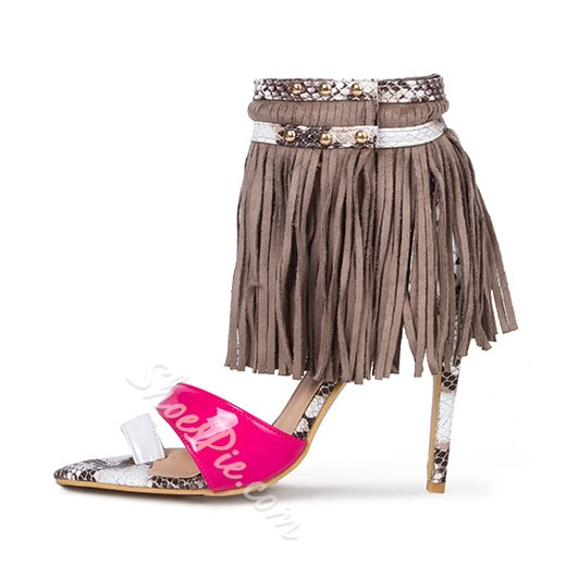 Shoespie Tassel Stiletto Heel Dress Sandals
