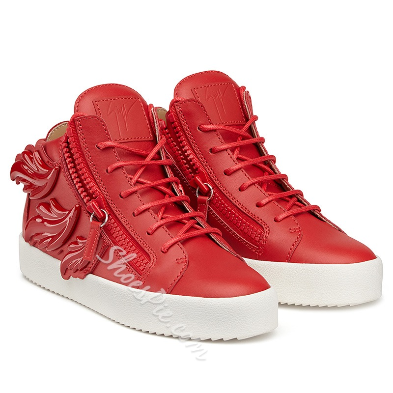 Shoespie Side Zippers and Leaves Sneakers