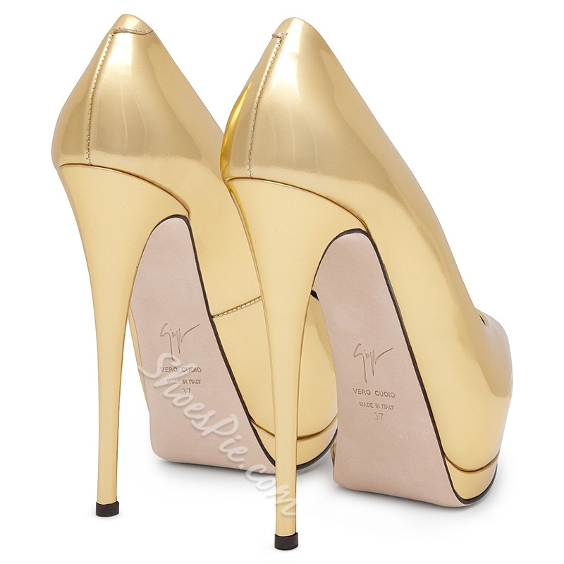 Shoespie Luxurious Golden Peep Toe Heels