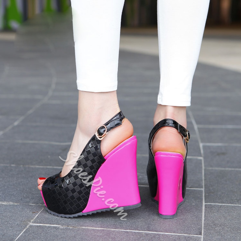 Shoespie Slouchy Contrast Color Wedge Heels