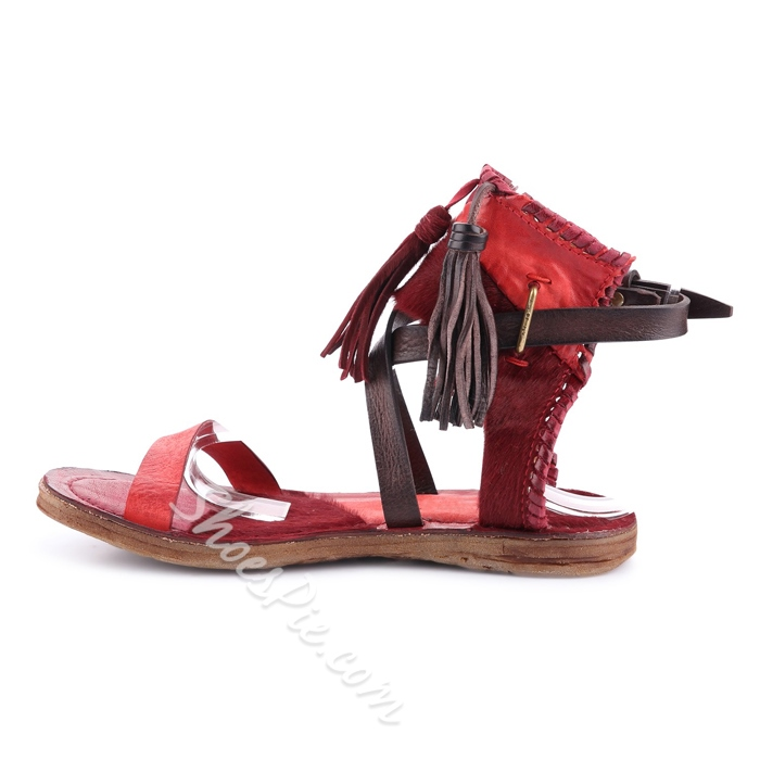 Shoespie Genuine Leather Gladiator Flat Sandals