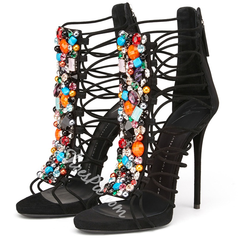 Shoespie Colorful Stones Dress Sandals