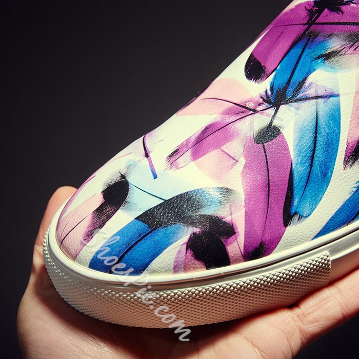 Shoespie Colorful Feather Print Men's Loafers