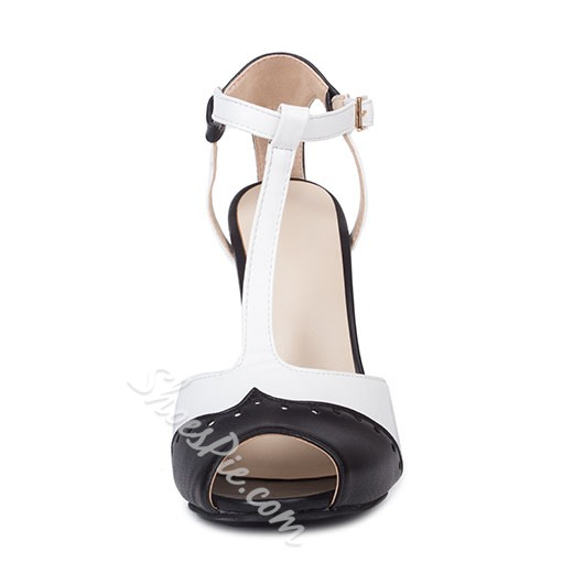 Shoespie Black and White Two Tone Patchwork T Strap Stiletto Heels