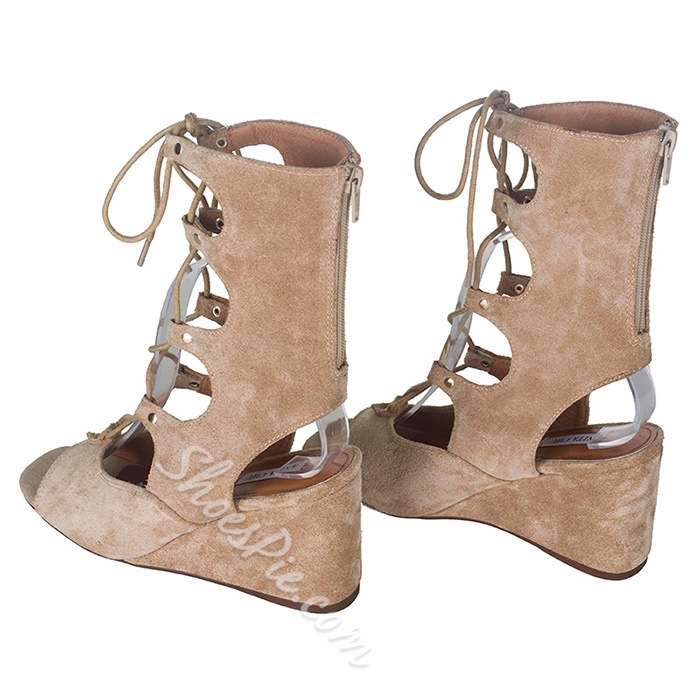 Shoespie Chic Lace Up Wedge Sandals