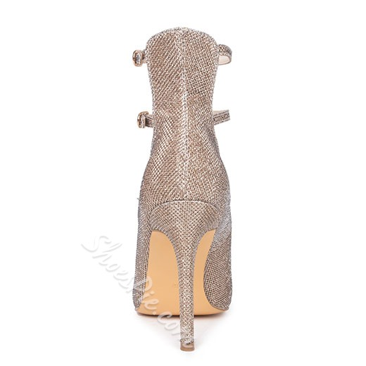 Shoespie Sequined Buckles Pointed Toe Stiletto Heels