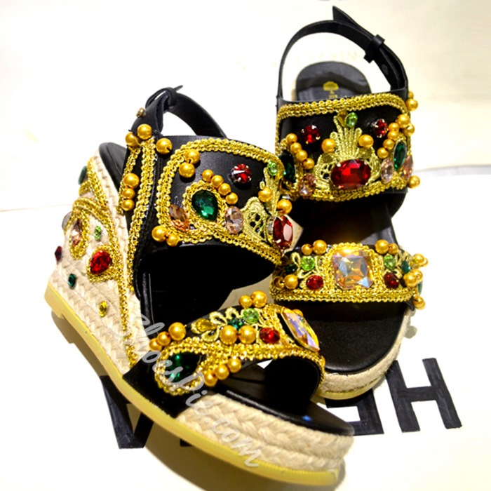 Shoespie Vintage Jeweled Wedge Sandals
