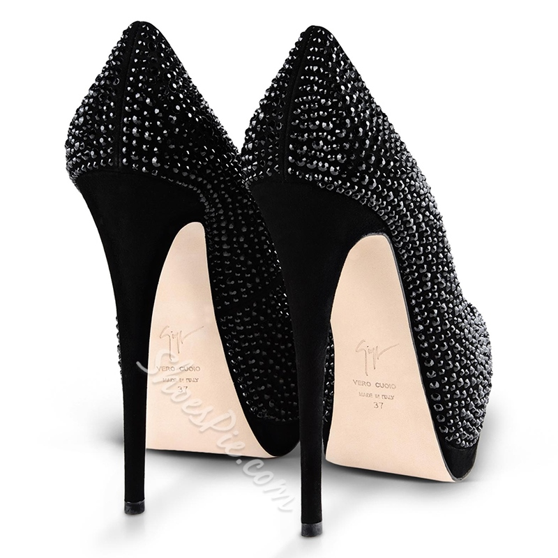 Shoespie Luxurious Black Beaded Peep Toe Heels