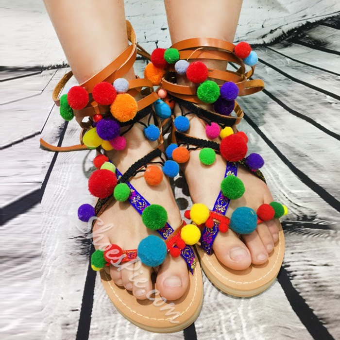 Shoespie Colorful Fur Balls Lace Up Flat Sandals