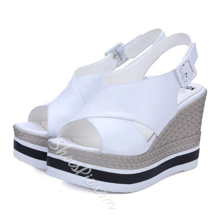 Shoespie Rattan Grass Wedge Sandals