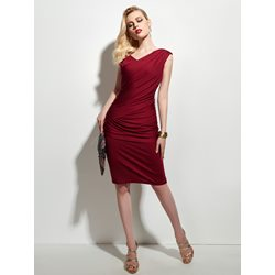Pleated Heap Collar Sleeveless Plain Women's Dress