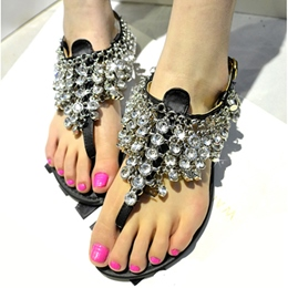 Shoespie Black Crystals Flat Sandals