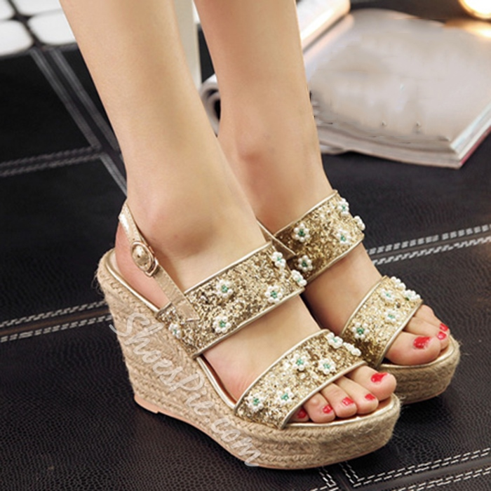 Shoespie Beading Flowers Wedge Sandals