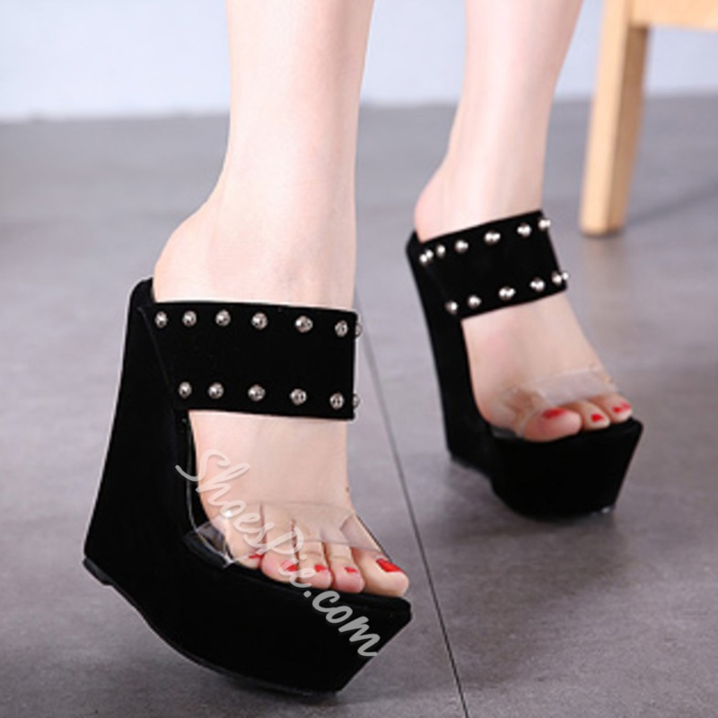 Shoespie Black Wedge Mules