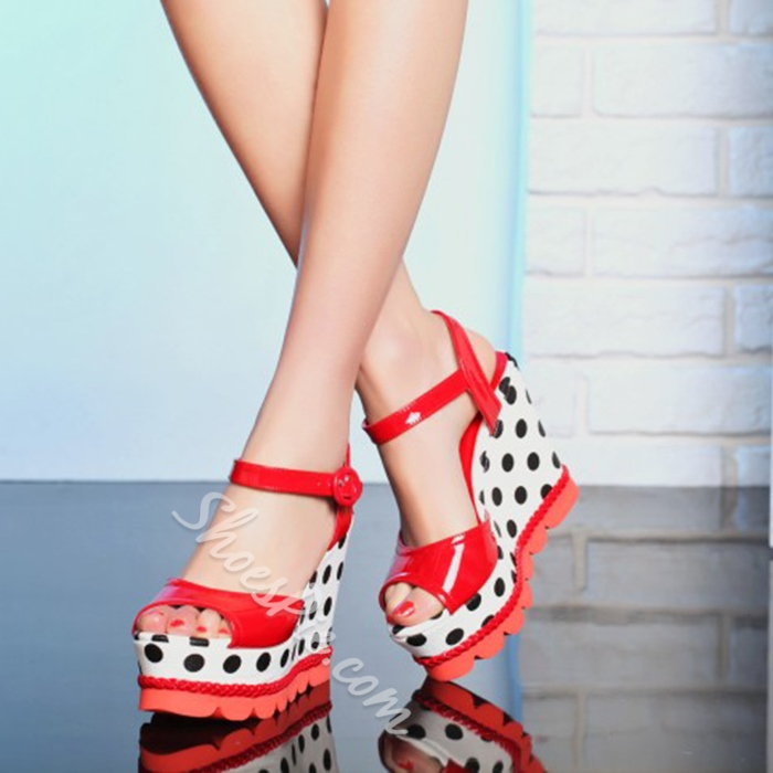 Shoespie Sweet Dots Wedge Sandals