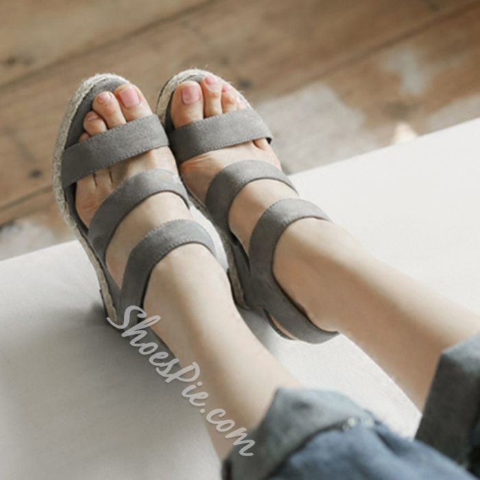 Shoespie Nubuck Wedge Sandals