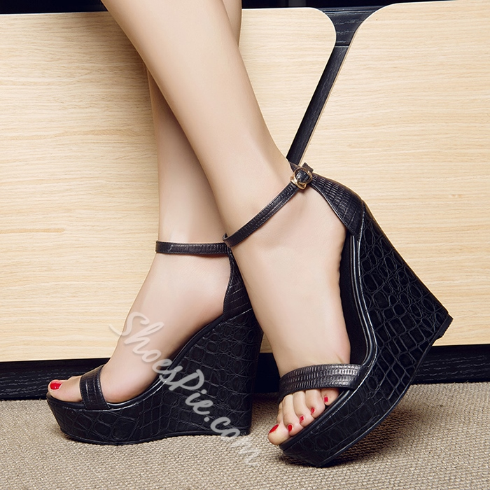 Shoespie Black Genuine Leather Wedge Sandals