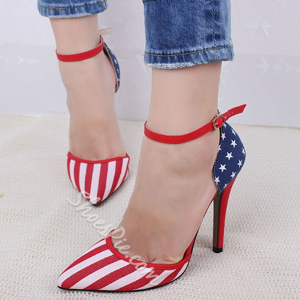 Shoespie Flag Print Stiletto Heels