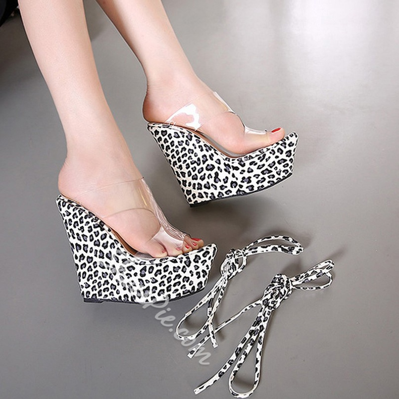 Shoespie Leopard Lace Up Wedge Mules