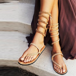 Shoespie Woven Wrap Up Flat Sandals
