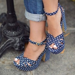 Shoespie Blue Dots Decorated Platform Sandals