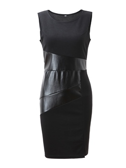 Shoespie Polyester Plain Patchwork Women's Bodycon Dress