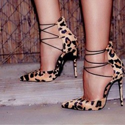 Shoespie Sexy Suede Lace Up Stiletto Heels