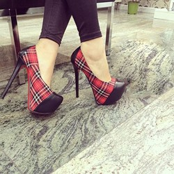 Shoespie Plaid Color Block Platform Heels