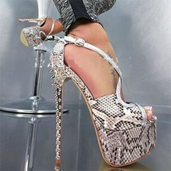 Shoespie Sexy Night Club Snake Pattern Platform Heels