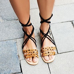Shoespie Dots Lace Up Flat Sandals