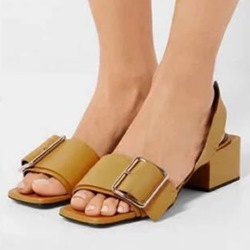 Shoespie Square Heel Wide Strap Sandals